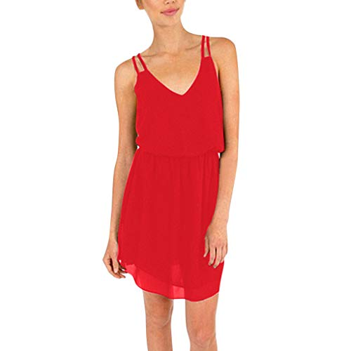 (Women's Double Strapped V-Neck Sleeveless Casual Tunic Tops AmyDong Ladies Chiffon Sling Summer Swing Dress Red)