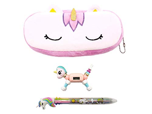 (Unicorn Purse Wallet Plush with Unicorn Bracelet Watch, Color Pen Gift Set for girls, kids, teens (Purple))