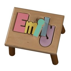 Personalized Pastel Puzzle Step Stool-1-8 letters - Color: Natural