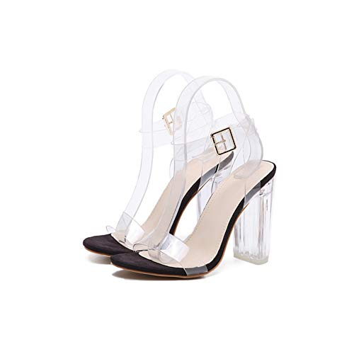 PVC Women Ankle Strap High Heels Shoes Sexy Sandals T-Strap Clear Transparent Gladiator Sandals Black ()