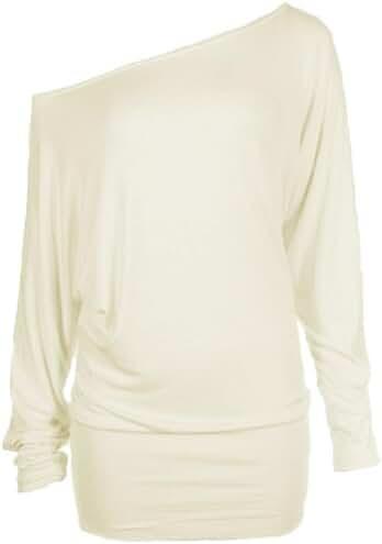 Hot Hanger Womens Long Sleeve Off Shoulder Batwing Tunic Top