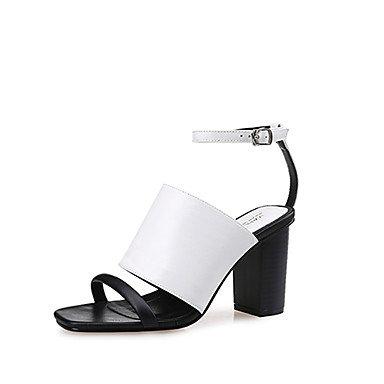 LvYuan Mujer-Tacón Robusto-Gladiador-Sandalias-Vestido / Casual-PU-Negro / Blanco / Negro y Blanco Black/White
