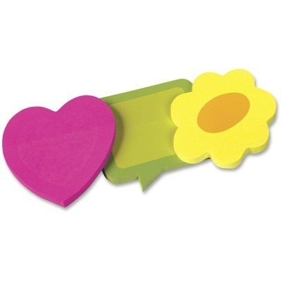 Two-Tone Self-Stick Notepads, 3 Die-Cut Shapes, 3 50-Sheet -