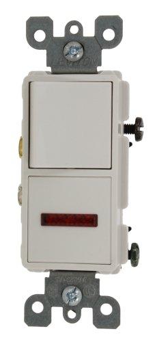 Leviton 5626-W 15 Amp, 120 Volt, Decora Single-Pole / Neon Pilot AC Combination Switch, Commercial Grade, Grounding, White