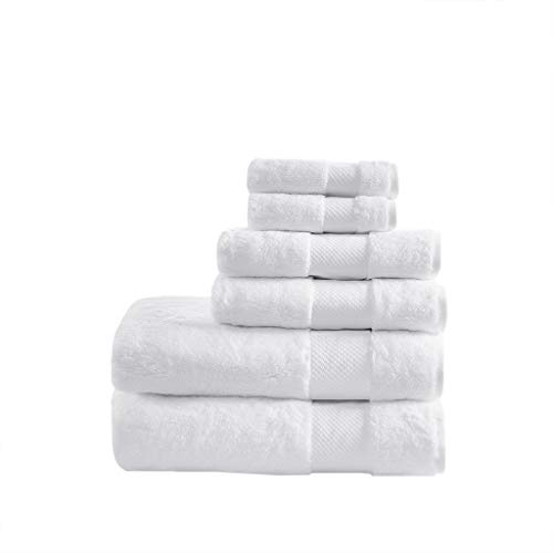 Madison Park Signature 100% Turkish Cotton 623Gsm Luxury Premium Thick Soft Abosorbant Hotel Bathroom Towel Set Shower Hand Face Washcloths, Assorted Sizes, White 6 Piece