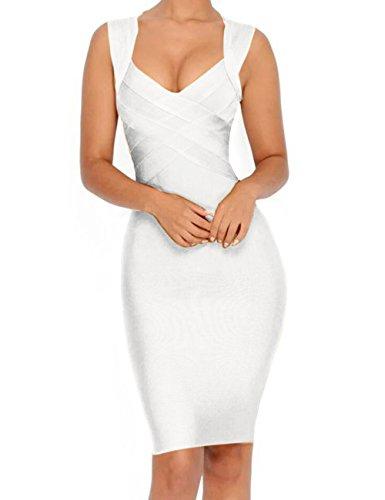 Whoinshop Women's V-Neck Strapless Clubwear Bodycon Bandage Dress