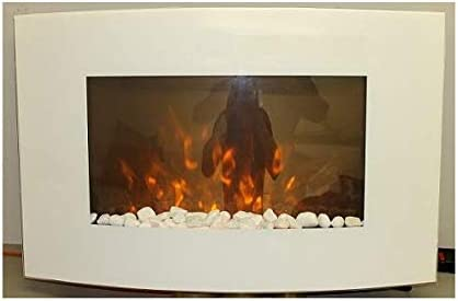 TruFlame 2020 7 colour Side LEDs Wall Mounted Arched White Glass Electric Fire with Pebble Effect (88cm wide)