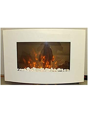 134f8661883 TruFlame 2019 7 colour Side LEDs Wall Mounted Arched White Glass Electric  Fire with Pebble Effect