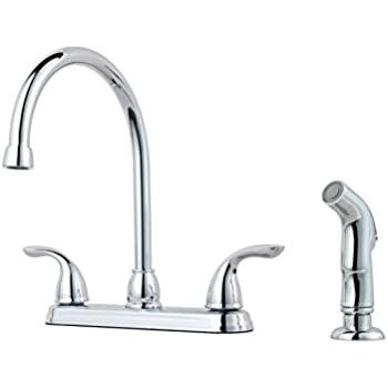 Beautiful Pfister G136 5000 Pfirst Series 2 Handle Kitchen Faucet With Side Spray In  Polished