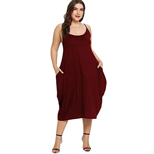 B2keevin Women Solid Plus Size Pocket Loose Sleeveless Dress Wine Red