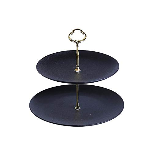 DDSS Cake stand- Double-layer ceramic gold/silver flower crystal carbon creative fruit plate cake display stand dessert frame, suitable for hotel banquet party table decoration, 2 colors, 2 sizes /-/