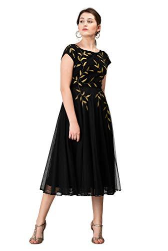eShakti FX Floral Embellished Cotton Knit and Tulle Dress XL-16 Black/Beige Gold