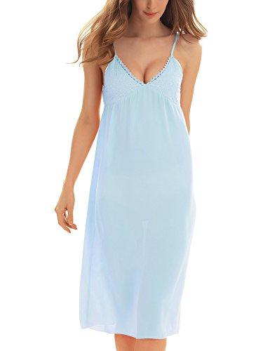 Yulee Womens Chiffon Nightshirts Chemise Silk Chemises Slip Sleepwear Light Blue, (Chiffon Silk Chemise)