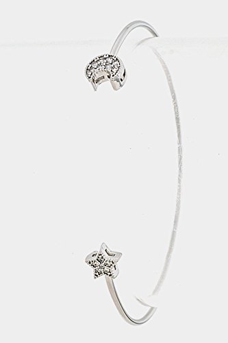 [Trendy Fashion Jewelry Encrusted Cubic Zirconia Moon and Star Tip Shape Wire Bangle Bra By Fashion Destination |] (Wire Bra Costume)