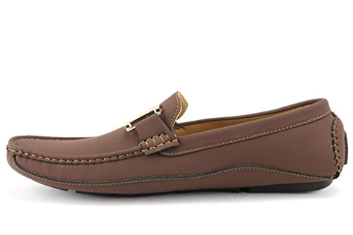 Heren Wh-06 H Gouden Gesp Mocassin Slip Op Loafer Schoenen Donkerbruin