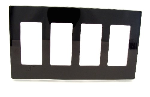 (Leviton 80312-SE 4-Gang Decora Plus Wallplate Screwless Snap-On Mount, Black)