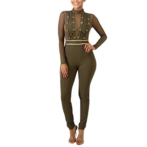 ThusFar Womens Long Sleeve Bodycon Jumpsuits - Sexy Mesh Patchwork Lace Up Romper Army Green Small