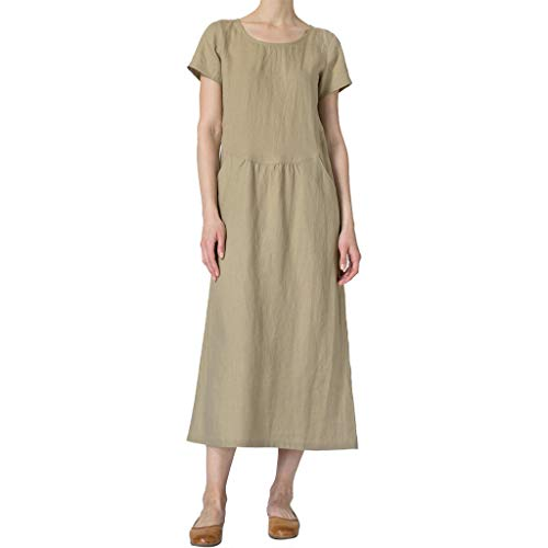 - Aunimeifly Women Solid O-Neck Short Sleeve Linen Loose Pockets Ruched Casual Straight Dress Khaki
