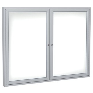 Ghent Manufacturing PN34872M-M1 48 x 72 in. 3-Door Wood Frame Walnut Enclosed Porcelain Magnetic Whiteboard