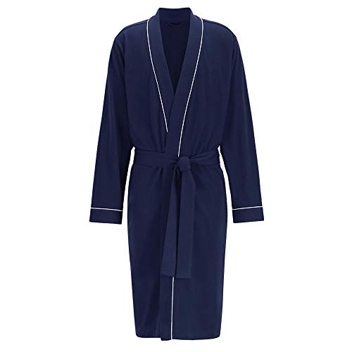 HOLOVE Summer Robe for Mens 100% Cotton Lightweight Soft Bathrobe (Navy Blue S/M)