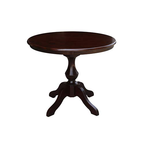 International Concepts K15-36RT-11B 36'' Round Top Pedestal Table-28.9'' H, Rich Mocha by International Concepts