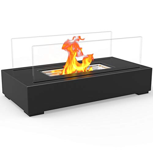 Regal Flame Utopia Ventless Indoor Outdoor Fire Pit Tabletop Portable Fire Bowl Pot Bio Ethanol Fireplace in Black - Realistic Clean Burning Like Gel Fireplaces, or Propane -