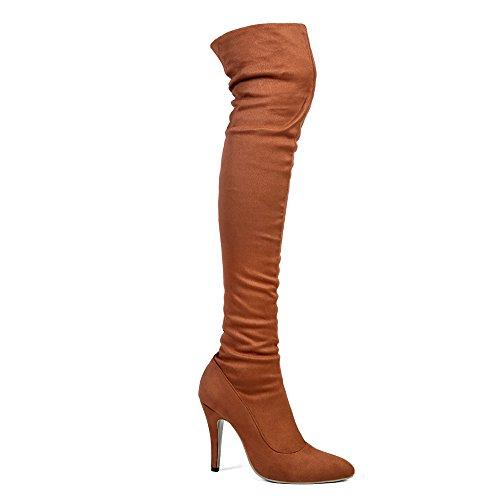 Shoe'N Tale Frauen Overknee High Stretchy Leder Oberschenkel hohe Schneeschuhe Kamel