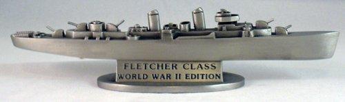U.S. United States Historical Society U.S. Navy WWII Fletcher Class Destroyer Battleship Pewter Battleship Ship Figurine Model