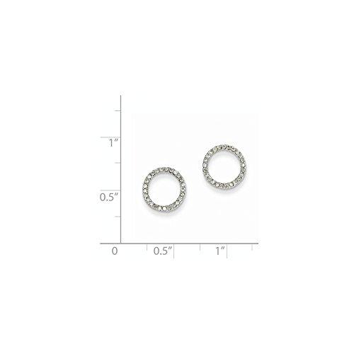 14K White Gold 1/4Ctw Circle Diamond Earrings. Carat Wt- 0.25ct (0.4IN x 0.4IN)