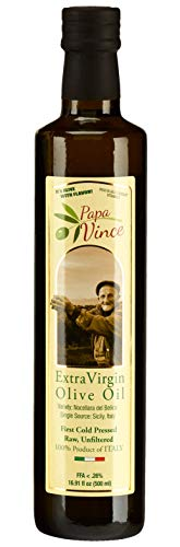 Papa Vince Olive Oil Extra Virgin, First Cold Pressed, Family Harvest Single Sourced from Sicily, Italy, Unblended, Unfiltered, Unrefined, Robust, Rich in Antioxidants (LG 16.9 fl oz)
