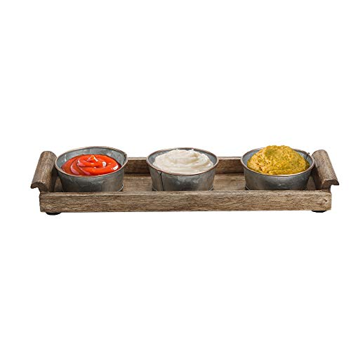 - Mind Reader 3BTRAY-BRN 3 Galvanized Bowls, Set with Wood Board, Rectangular Wooden, Circular Condiments Serving Tray, Brown, One Size,
