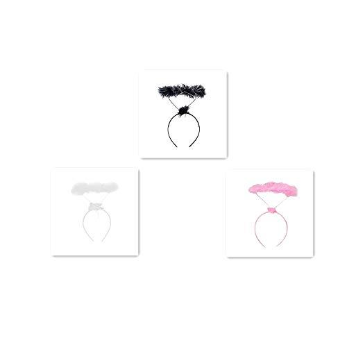 (Ximandi Fluffy Halo Angel Headband, Fairy Fancy Dress Party Hairband (3PCS, Medium))