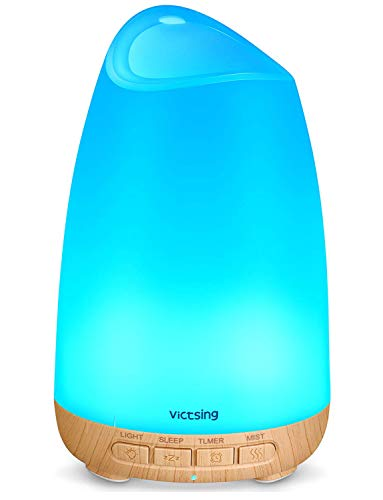 VicTsing 150ml Essential Oil Diffuser, 3rd Version Aromatherapy Diffusers Ultrasonic Cool Mist Humidifier with Sleep Mode, Waterless Auto-Off & 8-Color LED Light for Home Office Room Baby-Wood Grain