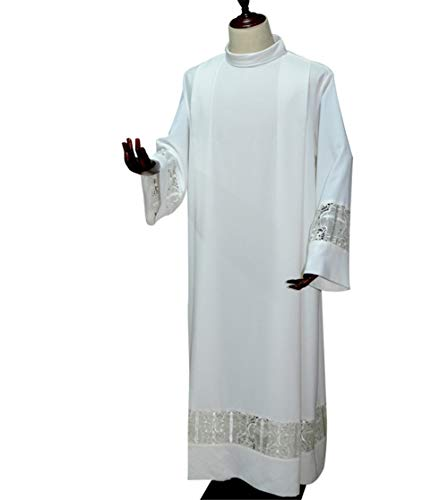 (FairyCos Church Priest ClergyWhite Alb Pleated Lace Band Liturgical Vestment)