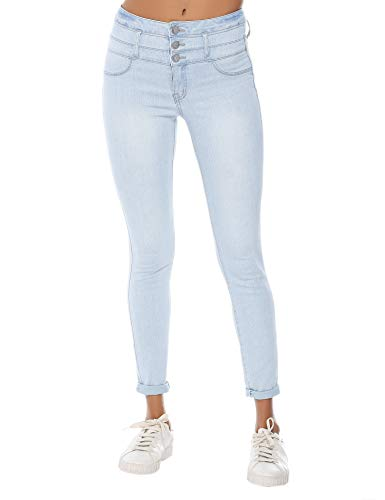 (Resfeber Women's Boyfriend Jeans Distressed Slim Fit Ripped Jeans Comfy Stretch Skinny Jeans (RS) AMW7138-Lightwash, 8)