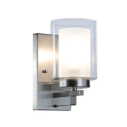 (Wall Light 1 Light Bathroom Vanity Lighting with Dual Glass Shade in Brushed Nickel Indoor Modern Wall Mount Light Suitable for Bathroom & Living Room XiNBEi-Lighting XB-W1195-1-BN)