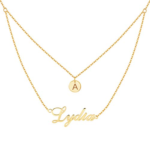 (Yoke Style Personalized Layered Name Necklace with Disc, Custom Charm Nameplate Necklace Jewelry Gift for)