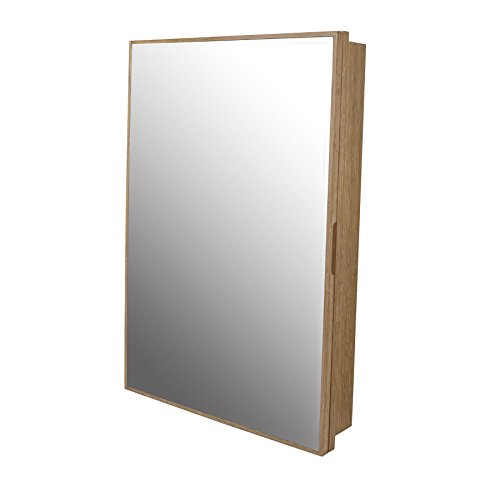 MAYKKE Peter 23'' W x 33'' H Wood Framed Medicine Cabinet with Beveled Mirror and Shelf, Weathered Natural, YSA2170101 by Maykke