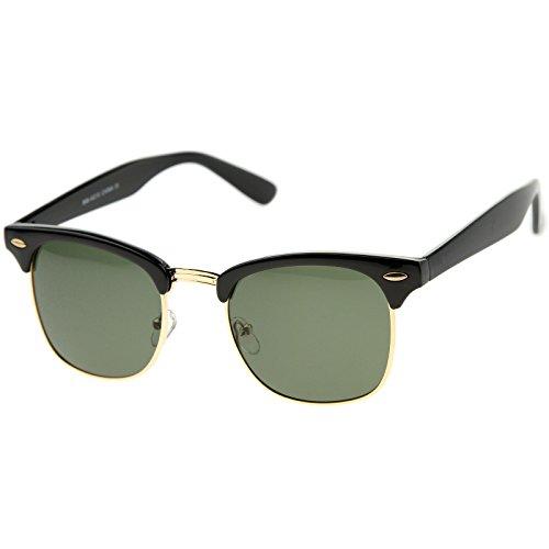 zeroUV - Half Frame Semi-Rimless Horn Rimmed Sunglasses (Black-Gold / - Frames Clubmaster Style