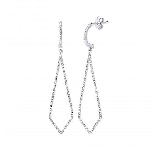Jareeya-9ct or blanc 0,40CT Diamant Boucles d'oreilles pendantes