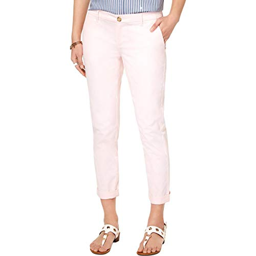 Tommy Hilfiger Womens Hampton Slim Fit Mid-Rise Chino Pants Pink 16