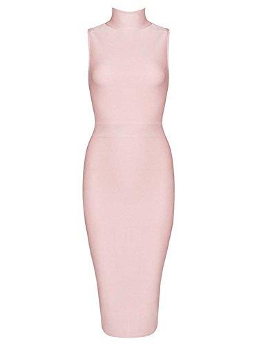 Sotto Whoinshop Blackless Pink Fascia Vestito Le Donna Bodycon Ginocchia pqgqafHx