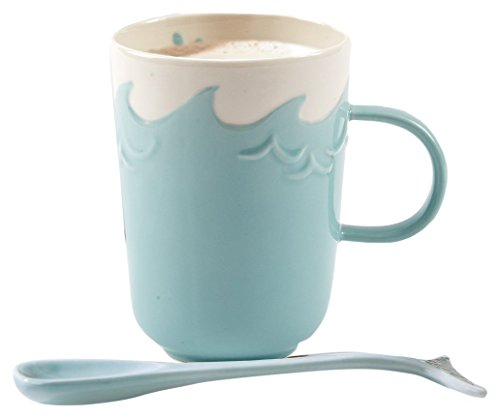 Two's Company 51278 Splish Splash Mug with Stirrer, Aqua - Aqua Mug