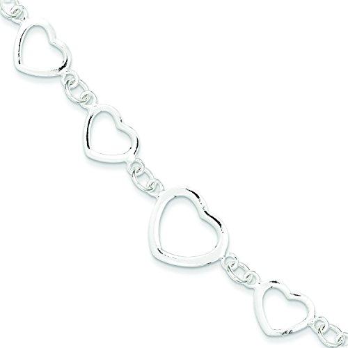 (Sterling Silver Polished Heart Fancy Link Bracelet)