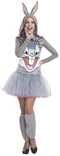 Rubie's Women's Looney Tunes Bugs Bunny Hooded Costume Dress, Gray, Large -