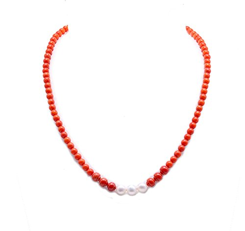 JYX 5.5mm Round Red Coral Necklace Freshwater Pearl Beads Pendant Necklace
