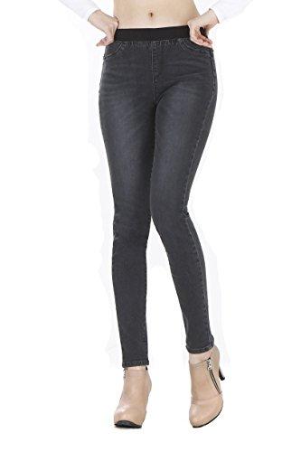 WeHeart Mascara Women Skinny Jeans Jeggings Pants Elastic Waist Black-Jean Medium by WeHeart (Image #2)