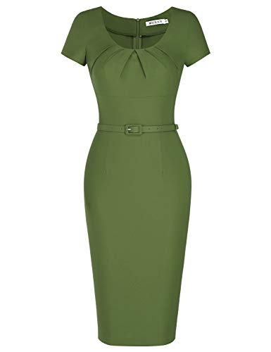 MUXXN Women's Audrey Hepburn 50s Solid Color Bandage Bodycon Evening Long Dress (Olive Green - Satin Knee Dress Length