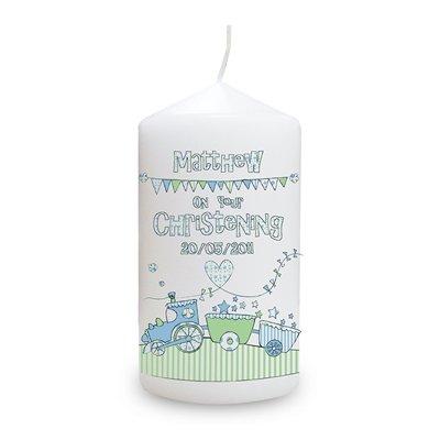 Whimsical tren vela, diseño de, para él, bautizo, bebé, de regalo con mensaje personalizado PGW
