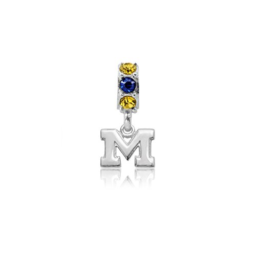 University of Michigan Wolverines Sterling Silver Jewelry by Dayna Designs (Crystal Charm Bead) by Dayna U